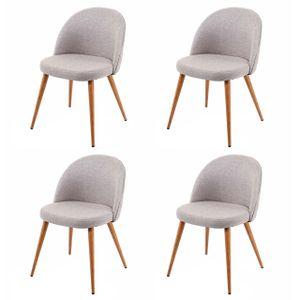 4x Esszimmerstuhl HWC-D53, Stuhl Küchenstuhl, Retro 50er Jahre Design, Stoff/Textil  hellgrau