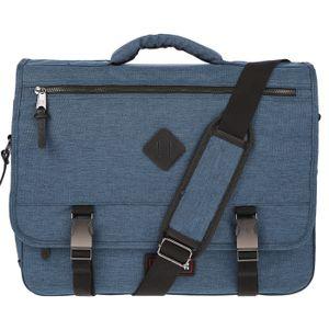 Christian Wippermann Große Herren Tasche mit Überschlag Laptoptasche Umhängetasche Arbeitstasche Blau