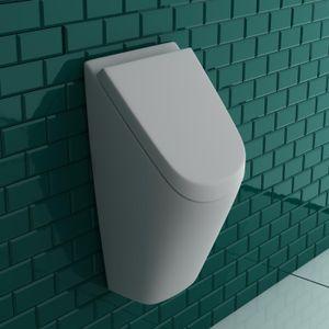 VitrA Pure Style Urinal + Deckel + Urinal-Absaug-Siphon   Zulauf & Ablauf von hinten   Pissoir Urinal Komplett Set Ausführung mit Deckel   Urinal aus robuster Sanitärkeramik   für perfekte Hygiene