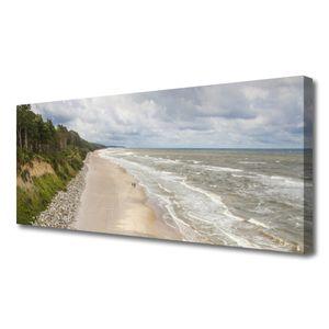 Tulup Leinwand-Bilder 125x50 Wandbild Canvas Kunstdruck Strand Meer Baum Natur