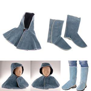 Schweißhaube Für Schweißer Kopfbedeckung Nackenschutz Flammhemmendes Rindsleder Schweißschuh Protector , Blau
