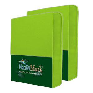 NatureMark 2er Pack MICROFASER Spannbettlaken  90 x 200 cm - 100 x 200 cm - apfel grün
