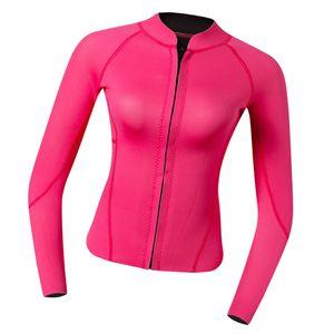 2MM Neopren Damen Langarm Neoprenanzug Jacke Sonnenschutz Tauchanzug Surf Suit Schwimmanzug für Frauen Größe S