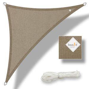 hanSe® Marken Sonnensegel HDPE Dreieck 3x3x3m Taupe UV-Schutz Sonnenschutz Schattenspender