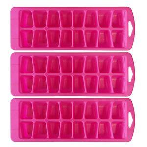 3 Stück Eiswürfelformer Eiswürfelzubereiter Eiswürfelbehälter Eis Eiswürfel Former  Farbe: pink