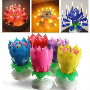 2 Stk Rotierende Lotuskerze Geburtstagsblume Musikalische Blumenkuchen Kerzen Blau