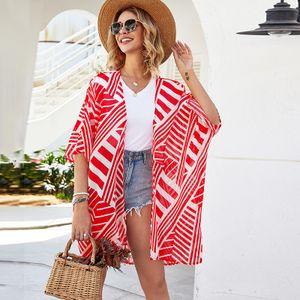 Mode Frauen Sommer gestreifte Print Strickjacke Kurzarm Duenn Casual Bohemian Beach Kimono