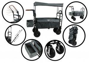 Elternstolz Bollerwagen faltbar mit Luftreifen, Dach, Schiebestange und Feststellbremse