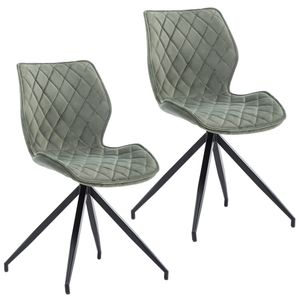 Duhome 2er Set Esszimmerstuhl Polsterstuhl aus Stoff Samt Blassgrün Grau-Grün gesteppt Metallbeine
