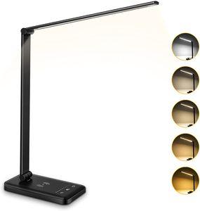 Speed LED Schreibtischleuchte 10 Helligkeitsstufen 5 Farb,Touchfel,6W,Wireless Laden,USB-Ladeanschluss(Schwarz)