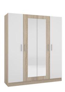 Kleiderschrank 4 trg. LESI Eichesonoma/Weiß
