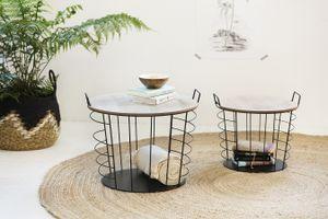 LIFA LIVING 2er Set Runde Couchtische aus schwarzem Metall und abnehmbarer Holz Platte, Beistelltische im Industrie und Vintage Stil, Belastbarkeit 10 kg