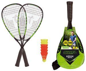Talbot-Torro Speed-Badminton Set Speed 5500, 2 handliche Alu-Rackets 56,5cm, 6 windstabile Bälle, im trendigen Rucksack, limegrün-schwarz