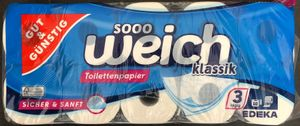 Edeka Gut &  Toilettenpapier, 3-lagig, 10 Rollen mit 200 Blatt, Klopapier, WC-Papier