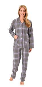 Damen Flanell Pyjama langarm Schlafanzug in karierter Optik- 61810, Farbe:dunkelgrau, Größe:44/46
