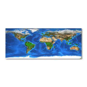 Tulup® Leinwandbild - 125x50 cm - Wandkunst - Drucke auf Leinwand - Leinwanddruck  - Landkarten & Flaggen - Blau - Weltkarte