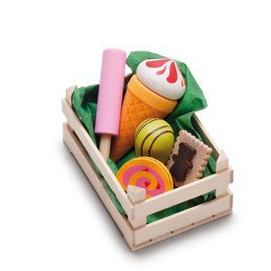 Erzi Sortiment in der Holzsteige Süßwaren, klein, Spielzeug-Lebensmittel, Kaufladenzubehör