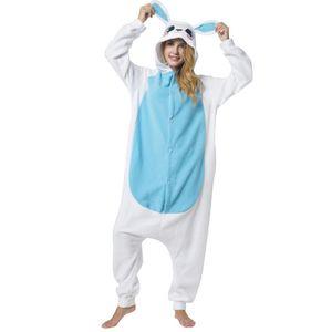Jumpsuit, Onesie für Erwachsene Hase blau-weiß XL (175-185cm)