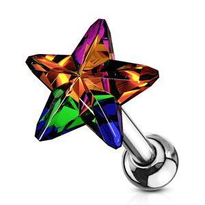 Tragus Ohr Piercing Stecker Helix Cartilage Barbell Stern Star Zirkonia Kristall Autiga® silber-aurora-borealis