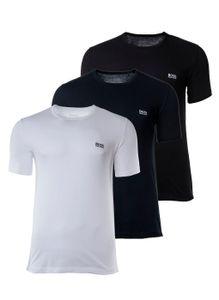 HUGO BOSS Herren T-Shirts, 3er Pack -  Rundhals, Pure Baumwolle Blau/Weß/Schwarz L