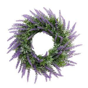 Handgemachter Lavendel Kranz Kunstblumen Kranz Dekokranz für Tür Wand Fenster und Garten Lila 32 x 32 x 8 cm