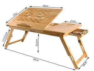 Laptoptisch  Notebooktisch aus Holz,Betttisch Zeichentisch und Esstisch für Bett 55x34,6x26,5cm 7974