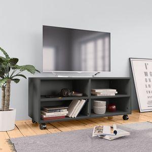 dereoir TV-Schrank mit Rollen Grau 90×35×35 cm Spanplatte
