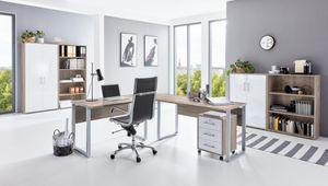Arbeitszimmer Büromöbel-Set TABOR PRO 1 in Eiche Sonoma / Weiß Hochglanz