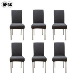 Stuhlhusse 6er-Set Stuhlbezug Elastisch Stuhlüberzug Stretch Grau Schonbezug Husse Esszimmer