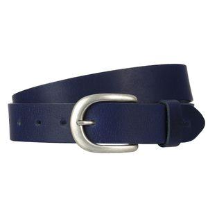 s.Oliver Damen Leder Gürtel Belt Ledergürtel Blau 38.899.95.5809-5834, Länge:85 cm