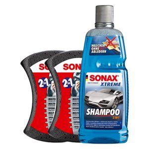 SONAX XTREME Shampoo 215300 - 2 in 1 - 1 Liter inkl. 2x Multischwamm, lackreiniger, Autoshampoo