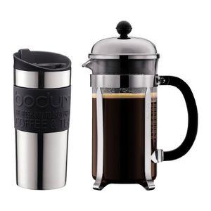 Bodum Chambod Set, freistehend, Schwarz, Edelstahl, Transparent, Französische Presse, Gemahlener Kaffee, Kaffee, 1l