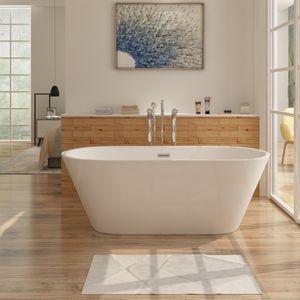 i-flair freistehende Design Badewanne 170 x 80 x 58 cm LUGANO aus hochwertigem Sanitäracryl in Weiß