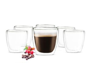 Sendez 6x90ml Doppelwandige Espresso Gläser Kaffeegläser Thermogläser Espressotasse