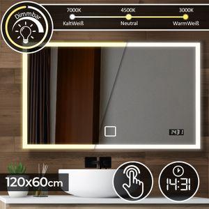 Aquamarin® Badspiegel mit LED Beleuchtung - 120 x 60 cm, EEK A++, Touchschalter, Dimmbar 3in1 Kaltweiß Neutral Warmweiß Einstellbar, Digitaluhr - Badezimmerspiegel, Lichtspiegel, LED Spiegel