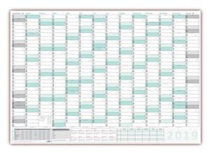 XXXL Wandkalender 2021 - Sehr groß im DIN B0 Format (1,4 x 1,0 m) mit extra großen Tageskästchen, Schulferien, Jahresvorschau 2022 (gerollt) Farbe türkis