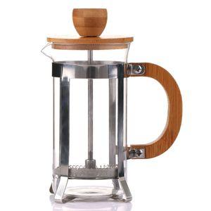 Glas Kaffeekanne Elegant 350ml Holzdeckel French Press Filter Hitzebest?ndig