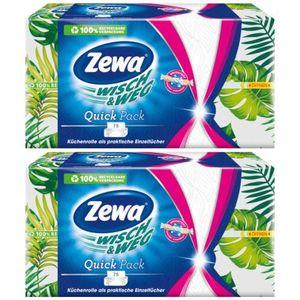 2 x Zewa Wisch + Weg Küchenrolle Küchentücher Quick Pack 75 Tücher