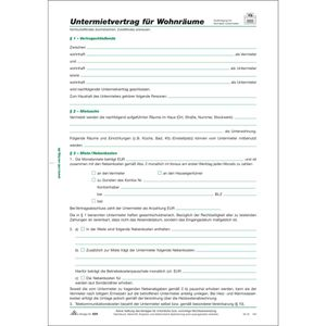 RNK Untermietvertrag für Wohnräume, 4 Seiten, gefalzt auf DIN A4
