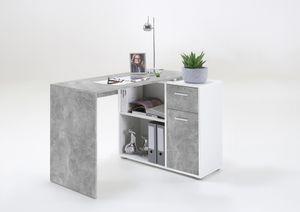 FMD furniture 360-001 Schreibtisch-Winkelkombination in Ausführung Beton Light Atelier/Weiß, Maße Tisch ca. 117 x 73,7 x 50 cm / Maße Regal ca. 80 x 69 x 33 cm (BxHxT)
