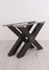 1 Paar Tischbeine (2 Stück) – Stahl Industriedesign X-Form für Bank u. Tisch (Transparent, B: 85 x H: 72cm)