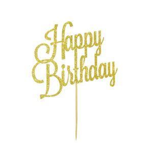 Oblique Unique Torten Topper Kuchen Aufsatz Happy Birthday Geburtstag Deko - gold