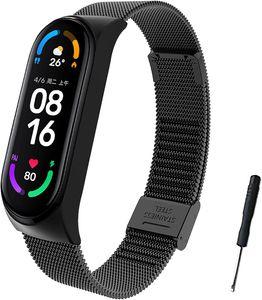 Kompatibel mit fürMi Band 5 Armband, MiBand 5 Ersatzband Wasserdicht Edelstahl Replacement Wrist Strap Armband ZubehörfürXiaomi Mi Band 5, Schwarz Mi5 Melan Schwarz