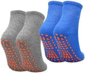 2 Paar Anti-Rutsch-Socken Yoga Socken Rutschsocken Stopppersocken ABS Socken für Erwachsene Männer Herren Antirutsch Sportsocken Baumwolle für Sport Yoga Pilates Gymnastik Trampolin