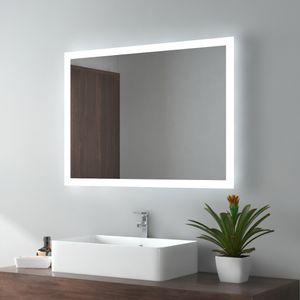 EMKE LED Badspiegel 60x80cm Badezimmerspiegel mit Beleuchtung 2 Lichtfarbe 3000/6500K Lichtspiegel Wandspiegel mit Tastenschalter + Beschlagfrei IP44 Energiesparend