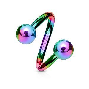 viva-adorno Lippenpiercing Chirurgenstahl Labret Spirale Twister Doppelkugel verschiedene Farben und Größen Z400,regenbogen 1,2x10x4mm