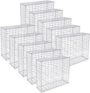 SONGMICS Gabione 10 Stück 100 x 80 x 30 cm Steinkorb für Gartenzaun GGB083