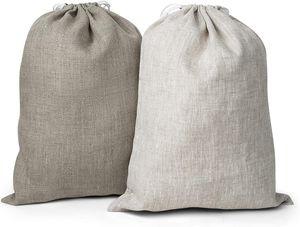 CYE 2-er Pack Leinen Brotbeutel - Brot Tasche - Leinenbeutel - Beutel Stoff Leinen - 30 x 40 cm - Natur/Hell Natur