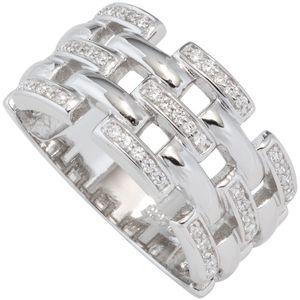 JOBO Damen Ring breit 925 Sterling Silber rhodiniert mit Zirkonia Silberring Größe 62