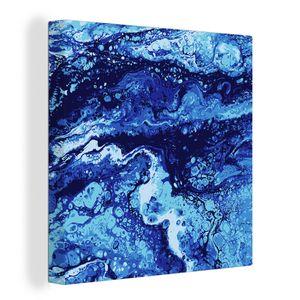 Leinwandbild - Liguid Aquarell und Tinte abstrakte farbige Malerei. Nass gehechelt Illustration, abstrakten Hintergrund, Muster und Tapete - 20x20 cm - Foto auf Leinwand - Gemälde auf Holzrahmen